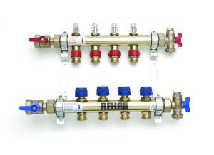 Distribuitor-colector din inox (cu debitmetre, ventile retur, ventil aerisire, robinet umplere si console izolate fonic )